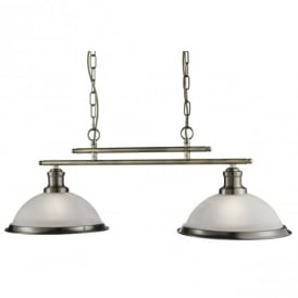Bistro Retro 2 Light Ceiling Bar Pendant Light in Antique Brass Finish 2682-2AB