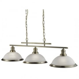 Bistro Retro 3 Light Ceiling Bar Pendant Light in Antique Brass Finish 2683-3AB