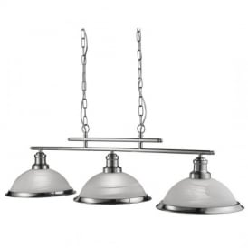 Bistro Retro 3 Light Ceiling Bar Pendant Light in Satin Silver Finish 2683-3SS