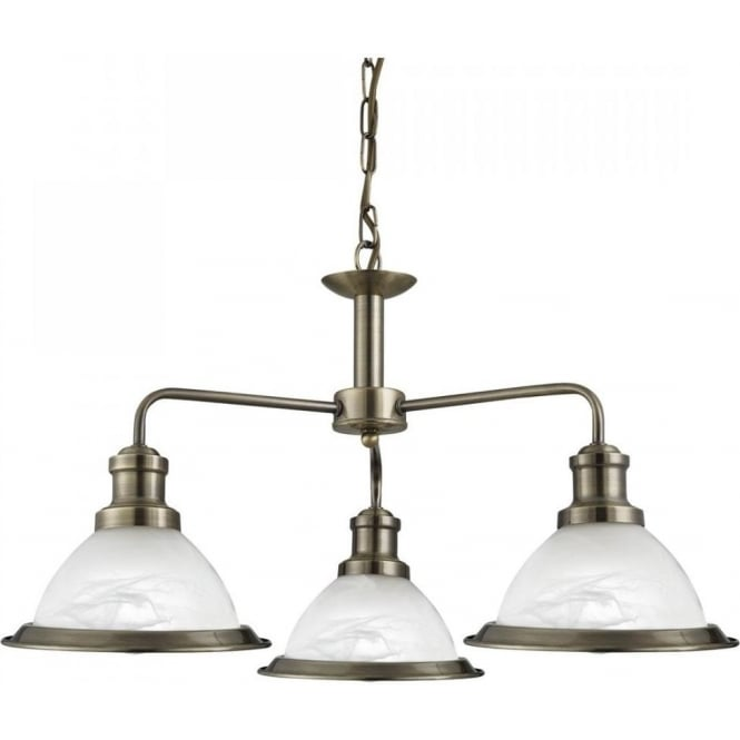 Searchlight Bistro Retro 3 Light Ceiling Pendant Light in Antique Brass Finish 1593-3AB