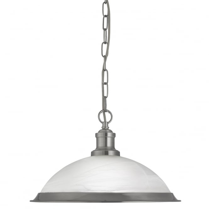 Searchlight Bistro Retro Ceiling Pendant Light in Satin Silver Finish 1591SS