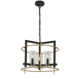 Bistro Stylish 3 Light Ceiling Pendant In Antique Ironwork And Matt Gold Finish FL2368/3