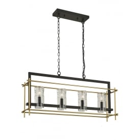 Bistro Stylish 4 Light Ceiling Bar Pendant In Antique Ironwork And Matt Gold Finish FL2368/4