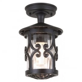 BL13A Hereford black flush porch exterior lantern, IP23
