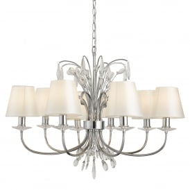 Bloom Decorative 8 Light Ceiling Pendant Light In Chrome Finish With Shades 6828-8CC