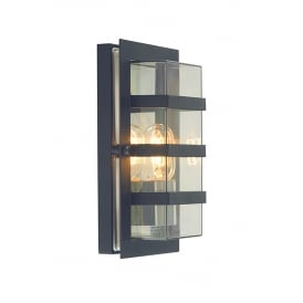 Boden Outdoor Flush Wall Light In Black Finish With Clear Glass BODEN E27 BLK C