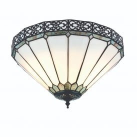 Boleyn Stylish Tiffany Medium Flush Ceiling Light With White And Green Glass 74332