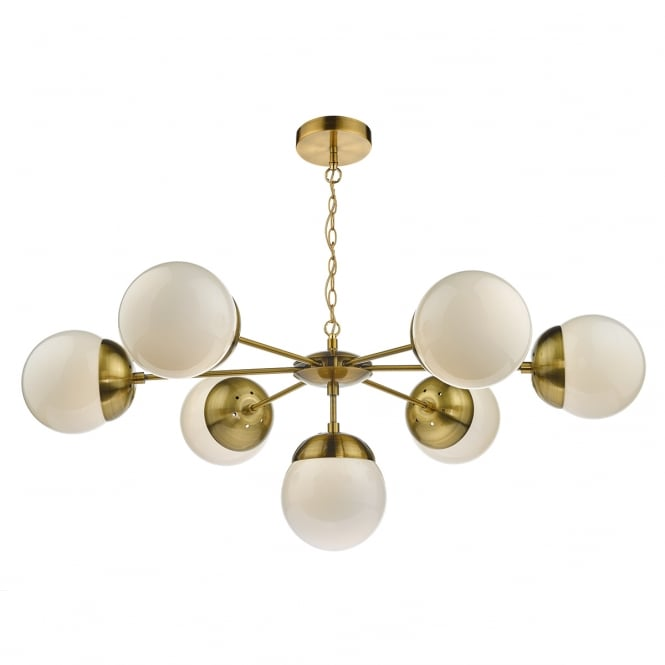 Dar Lighting Bombazine 7 Light Ceiling Pendant Light With Brass Arms BOM3435