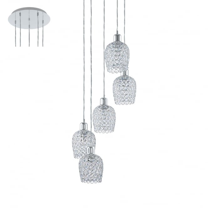 Eglo Lighting Bonares Five Light Ceiling Cluster Pendant In Chrome Finish With Crystal Glass 94898