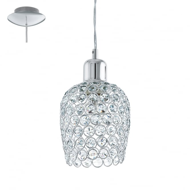 Eglo Lighting Bonares One Light Ceiling Pendant In Chrome Finish With Crystal Glass 94896