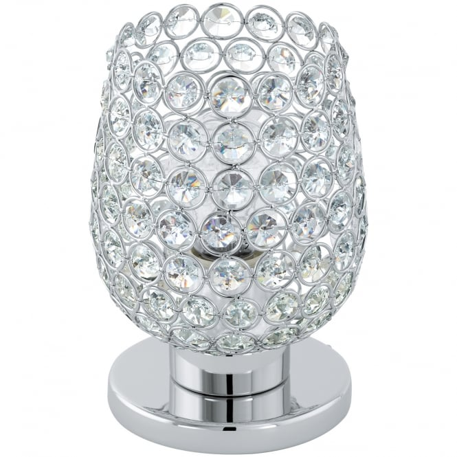 Eglo Lighting Bonares Table Lamp In Chrome Finish With Crystal Glass 94899