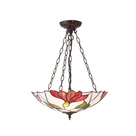 Botanica Tiffany Inverted Ceiling Pendant With Floral Design 70946