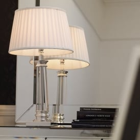 BOUCHET Chrome And Crystal Table Lamp