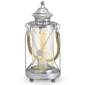 Bradford Vintage Table Lantern In Antique Silver Finish 49284