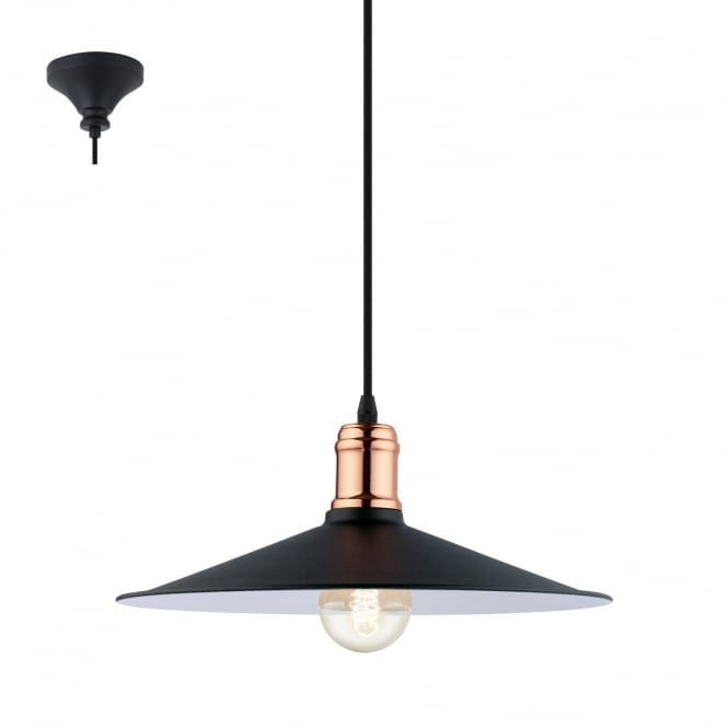 Eglo Lighting Bridport Vintage Ceiling Pendant Light In Black And Copper Finish 49452