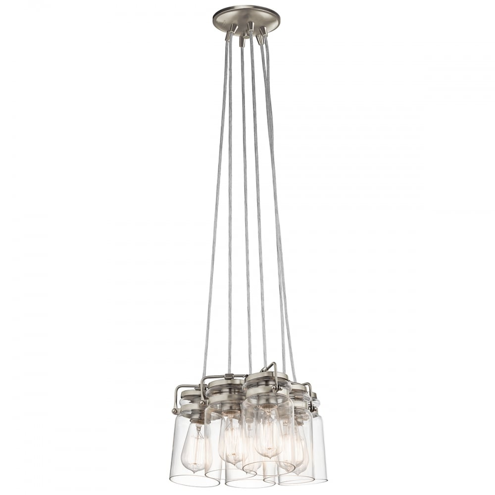 Elstead Brinley 6 Light Ceiling Pendant Fitting In Brushed