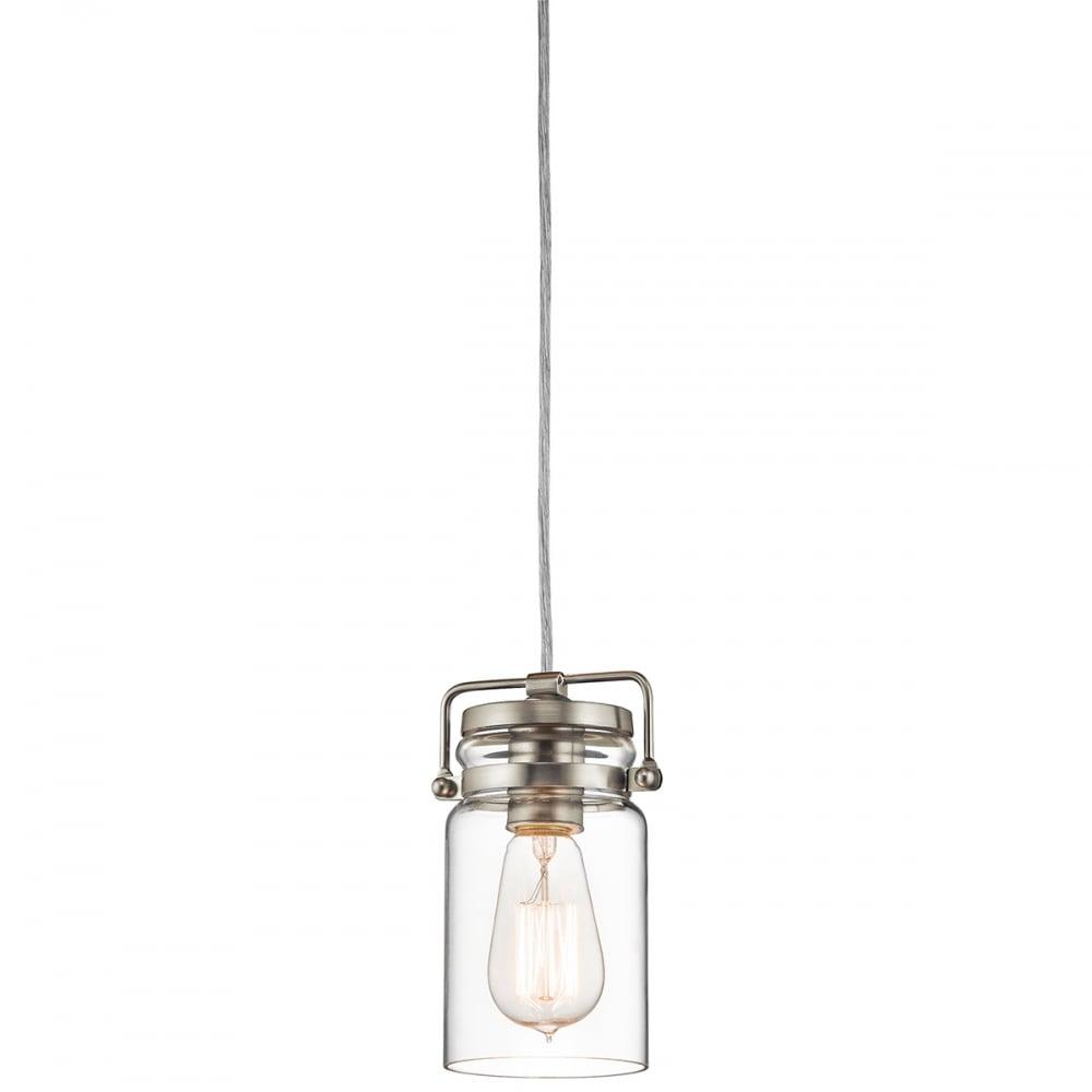 Elstead Brinley Mini Ceiling Pendant Light In Brushed Nickel Finish