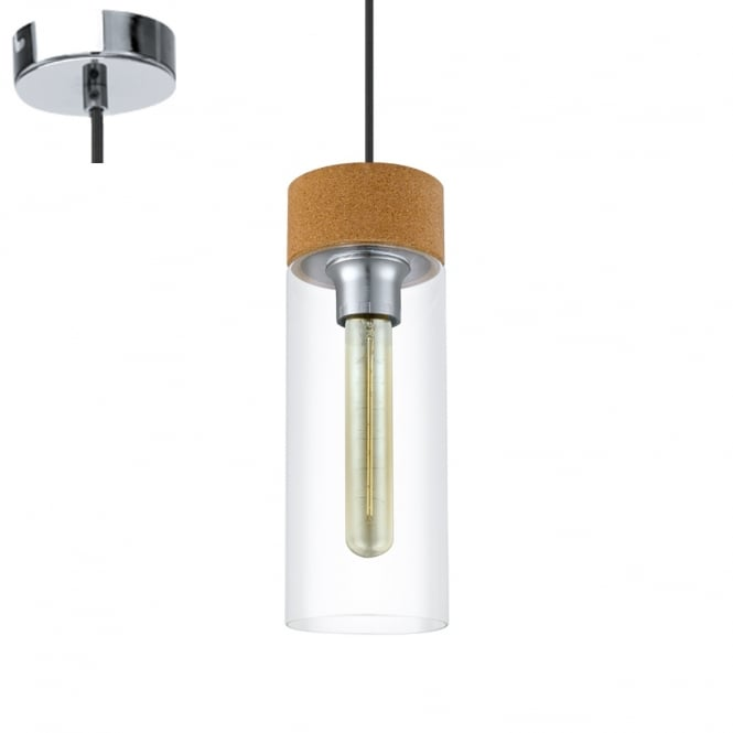 Eglo Lighting Brixham Vintage Ceiling Pendant Light With Cylindrical Shaped Glass Shade 49261