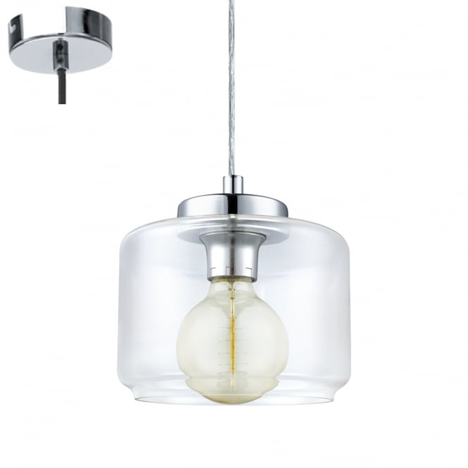 Eglo Lighting Brixham Vintage Ceiling Pendant Light with Oval Shaped Glass Shade 49266