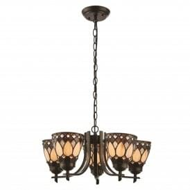 Brooklyn Stylish Tiffany Ceiling Pendant Light With Rich Cream Glass 74352