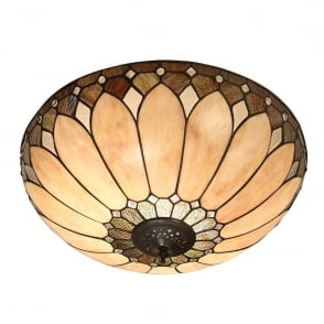 Interiors 1900 gladstone 4 light tiffany flush ceiling fitting in brooklyn tiffany large flush ceiling light with rich cream art glass 63973 aloadofball Images