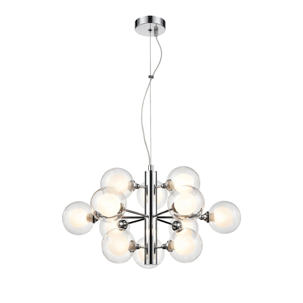 Franklite lighting bubble modern 12 light ceiling pendant light in polished chrome with glass shades fl2400 12