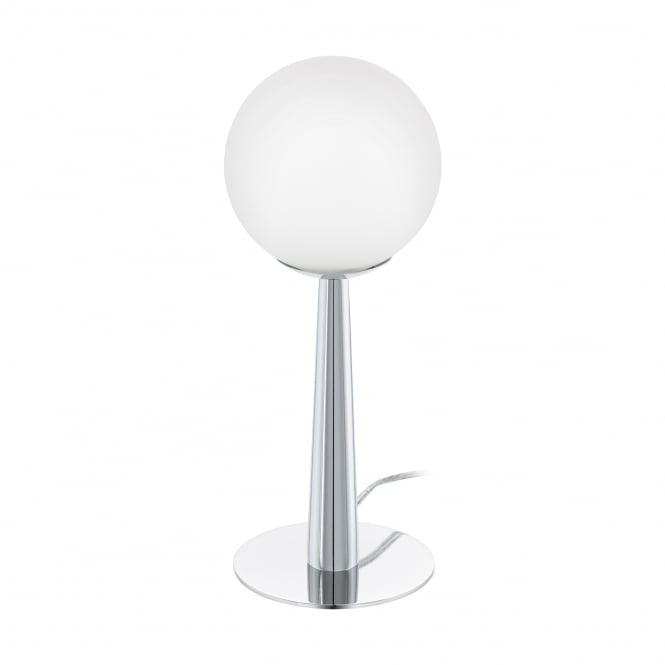 Eglo Lighting Buccino 1 LED Table Lamp In Chrome Finish With Opal Glass Shade 95778