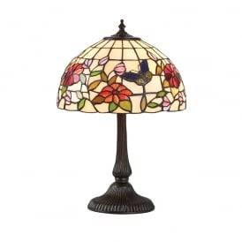 Butterfly Tiffany Small Table Lamp With Flowers And Butterflies 63998