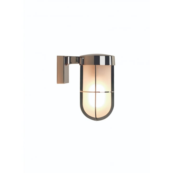 Astro Lighting Cabin Outdoor Wall Lantern In Polished Nickel Finish With Frosted Glass 7848