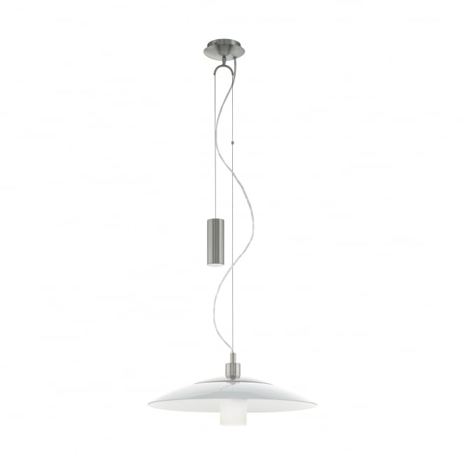 Eglo Lighting Cabral Modern Rise And Fall Ceiling Light In Satin Nickel With White Glass 95462