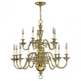 Cambridge 15 Light Chandelier in Burnished Brass Finish HK/CAMBRIDGE15