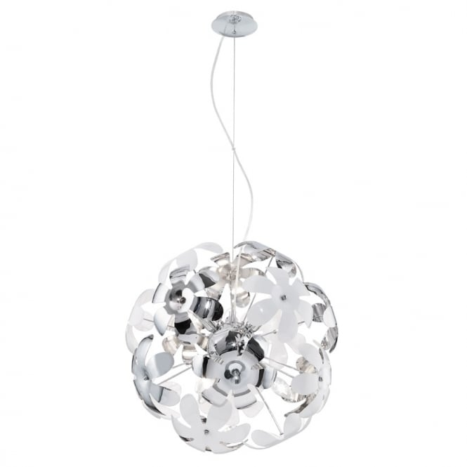 Eglo Lighting Camile Stylish Ceiling Pendant Light In Chrome And White Finish 92518