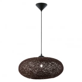 Campilo Ceiling Pendant Light In White Finish With Black Twist Shade 93375