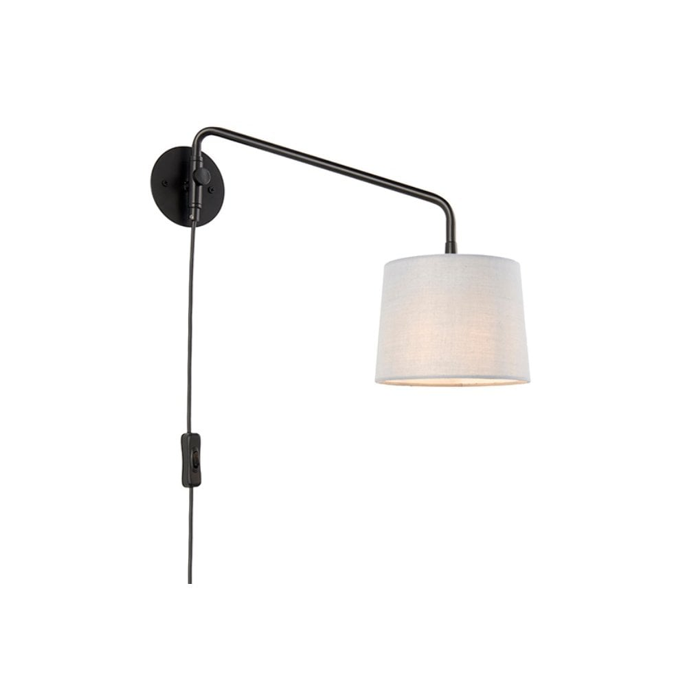 Endon Carlson Small Swing Arm Wall Light In Matt Black With Grey Shade 79500 Lighting From The Home Lighting Centre Uk
