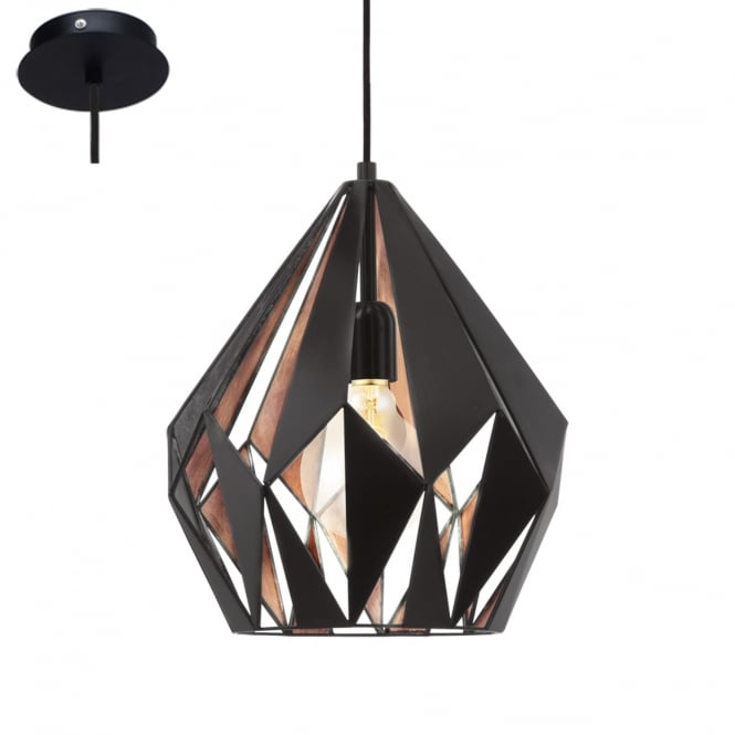 Eglo Lighting Carlton 1 Vintage Ceiling Pendant Light In Black And Copper Finish 49254