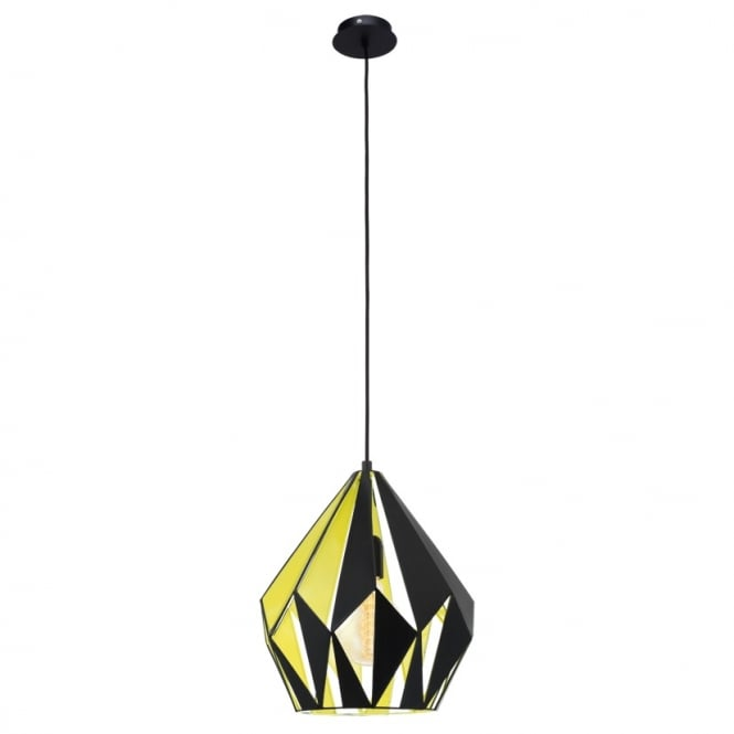 Eglo Lighting Carlton 1 Vintage Ceiling Pendant Light In Black And Yellow Finish 49256