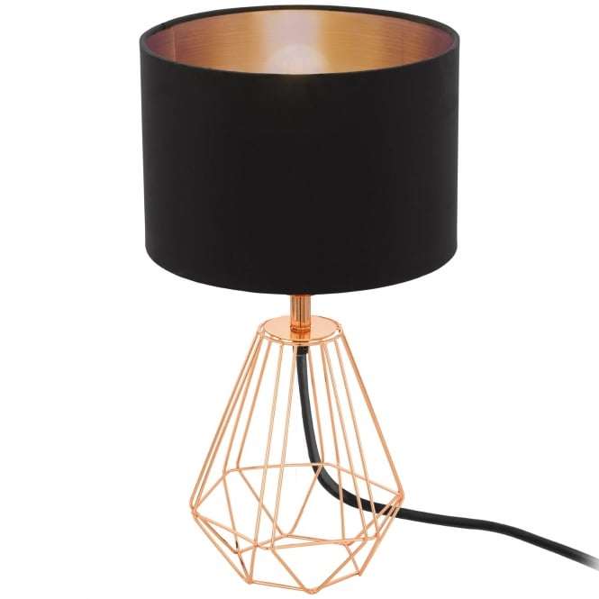 Eglo Lighting Carlton 2 Geometric Design Table Lamp In Copper With Black Shade 95787