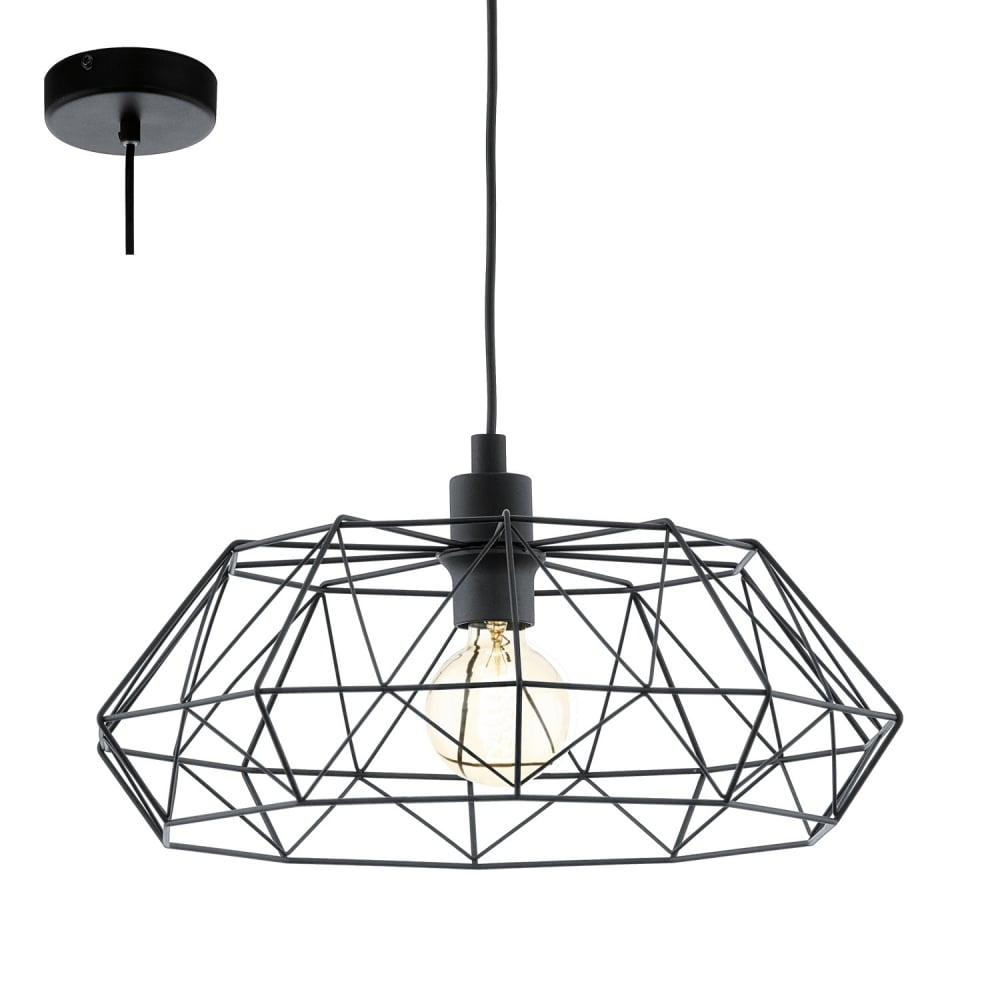 Magnifiek Eglo Lighting Carlton 2 Vintage Ceiling Pendant Light In Black @PS53