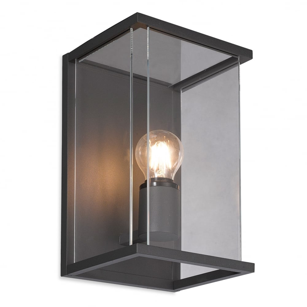 Firstlight carlton outdoor wall light in graphite aluminium finish with glass panels 5945 lighting from the home lighting centre uk