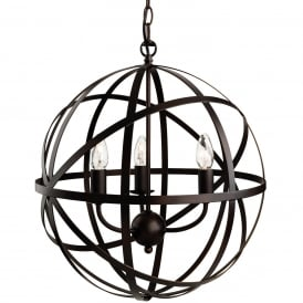 Castle Traditional Ceiling Pendant Light In Antique Brown Finish 3437