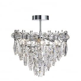 Catherine 3 Light Crystal Ceiling Semi Flush Fitting In Chrome Finish 2593-3CC