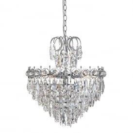 Catherine 5 Light Crystal Chandelier In Chrome Finish 2595-5CC