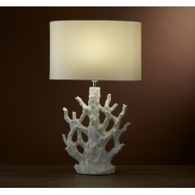 Ceramic Coral Table Lamp With Ivory Oval Faux Silk Shade 4557WH