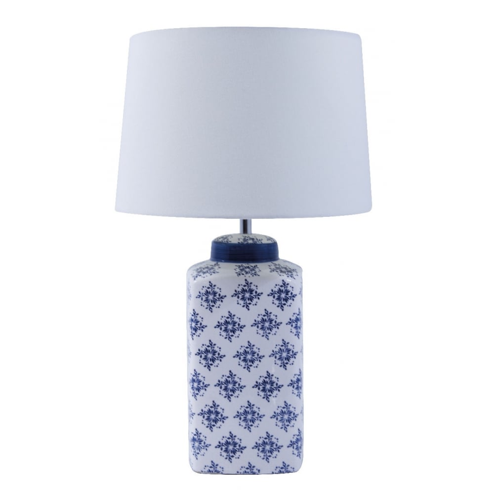 Ceramic Table Lamp In Blue And White Finish With Tapered Shade 4544bw