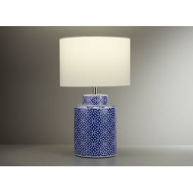 Ceramic Table Lamp In Blue And White Finish With White Shade 4542BW