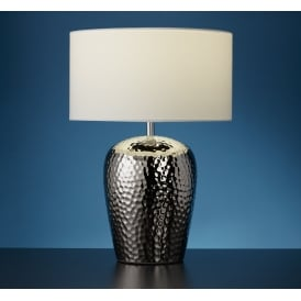 Ceramic Table Lamp In Chrome Finish With Ivory Drum Shade 4546CC