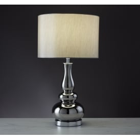 Ceramic Table Lamp In Chrome Finish With Silver Faux Silk Shade 4559CC