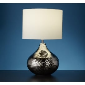 Ceramic Table Lamp In Chrome Finish With White Drum Shade 4545CC
