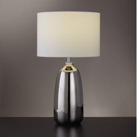 Ceramic Table Lamp In Chrome Finish With White Shade 4561CC