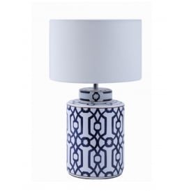 Ceramic Table Lamp In Dark Blue And White Finish With White Drum Shade 4543BW